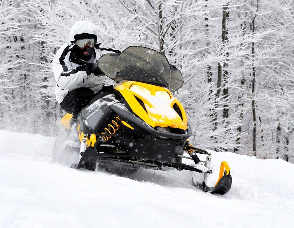 Man in a snowmobile