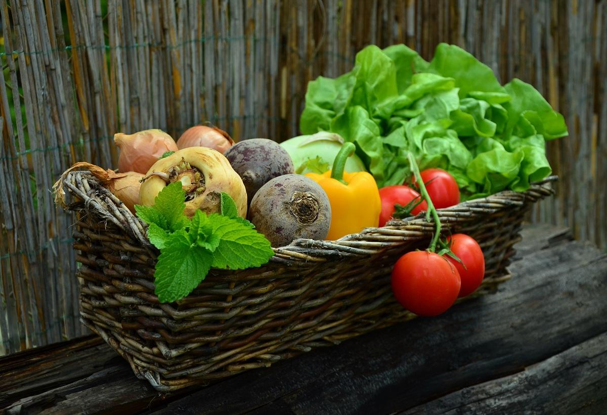 Brown basket of vegetables