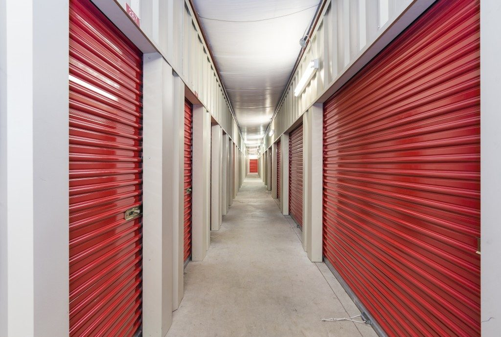 Storage units with red paint