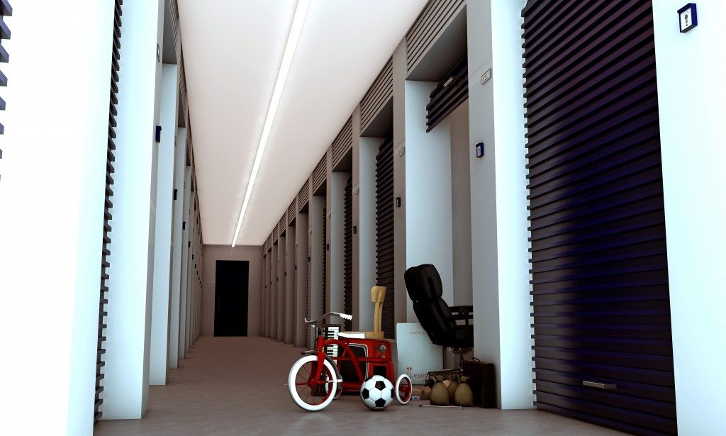 Storage unit with bike in front