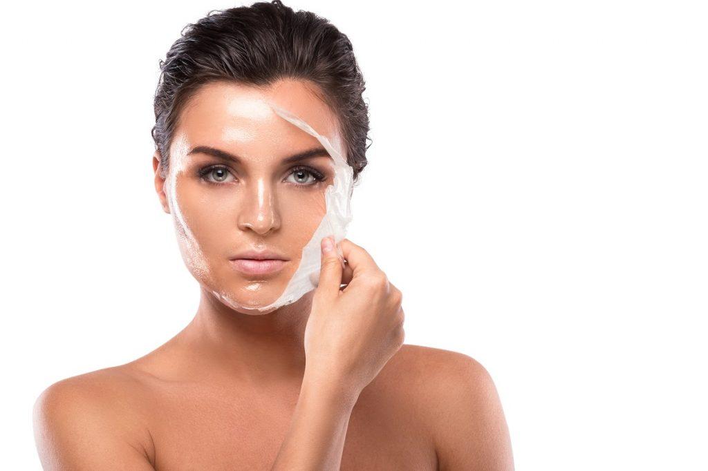 Woman with facial peel