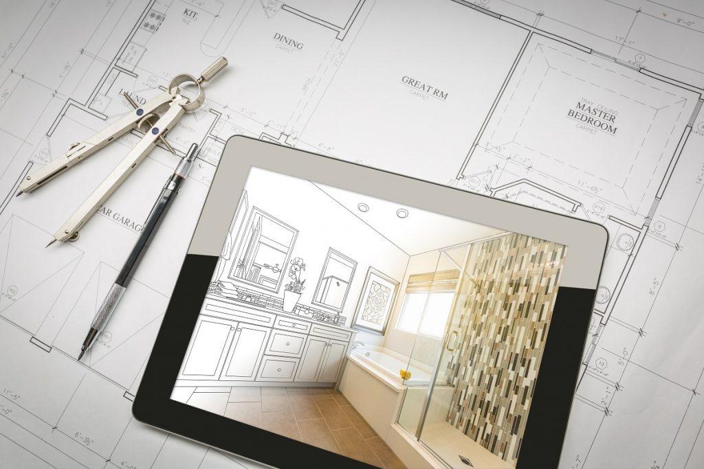 Planning bathroom renovation concept