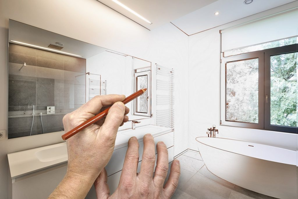 Drawing bathroom renovation concept
