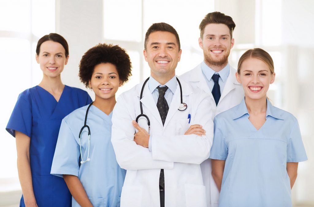 Hospital professionals posing for a photo