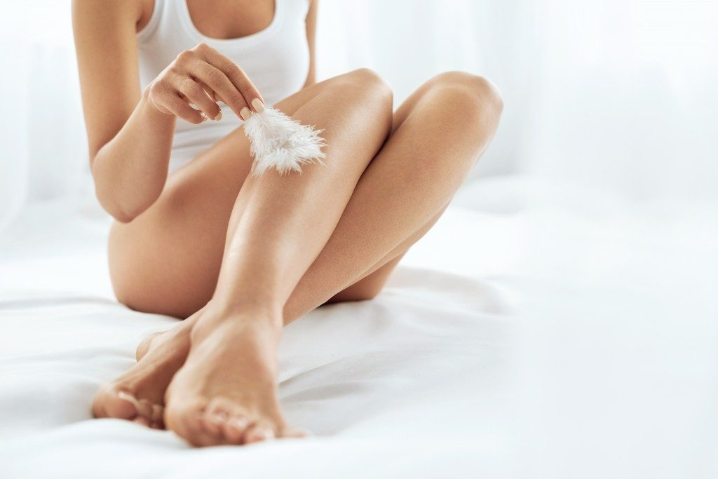 smooth skin of a woman's leg