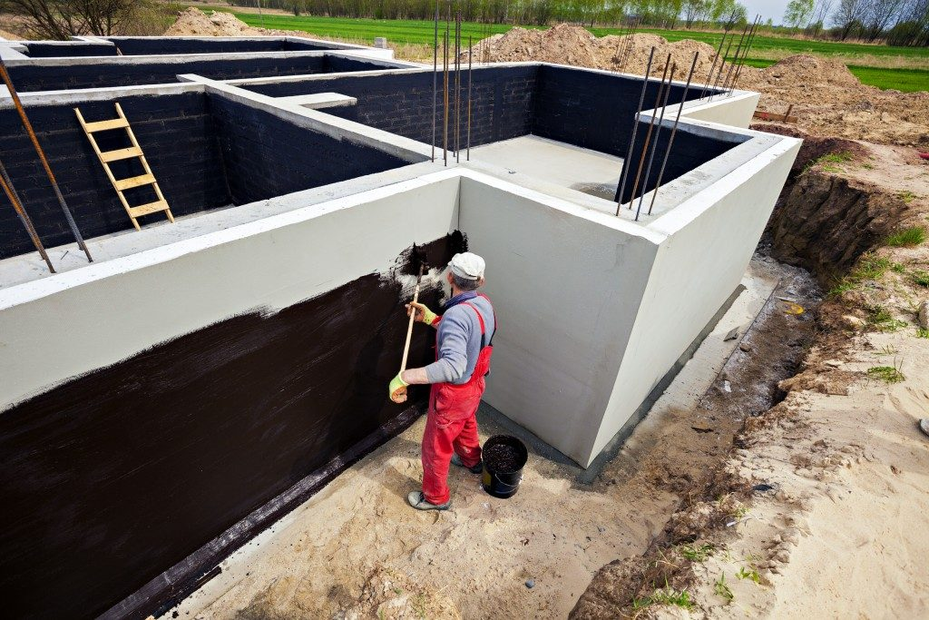 Waterproofing foundation building