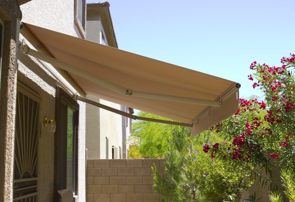 Awning above the back yard door