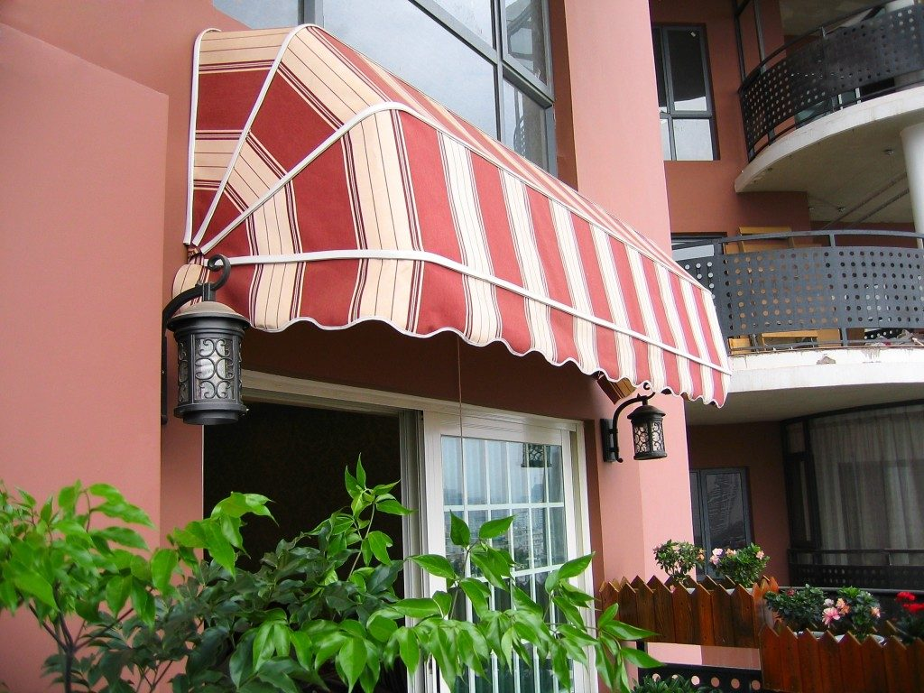 Patio with an awning above the door