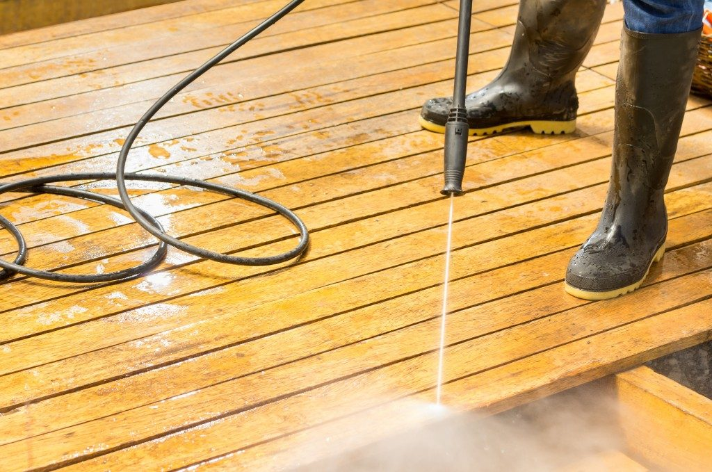 washing the deck