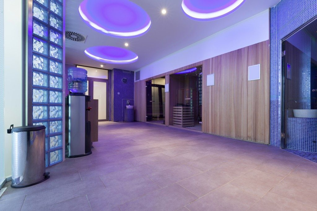 purple office interior