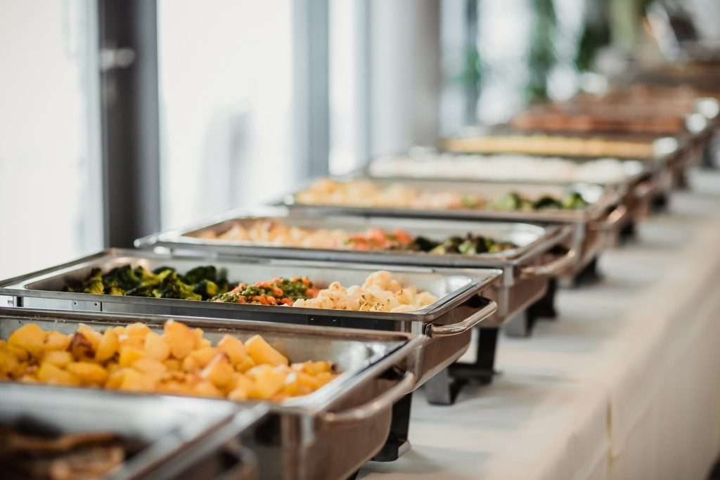 Catering buffet table spread
