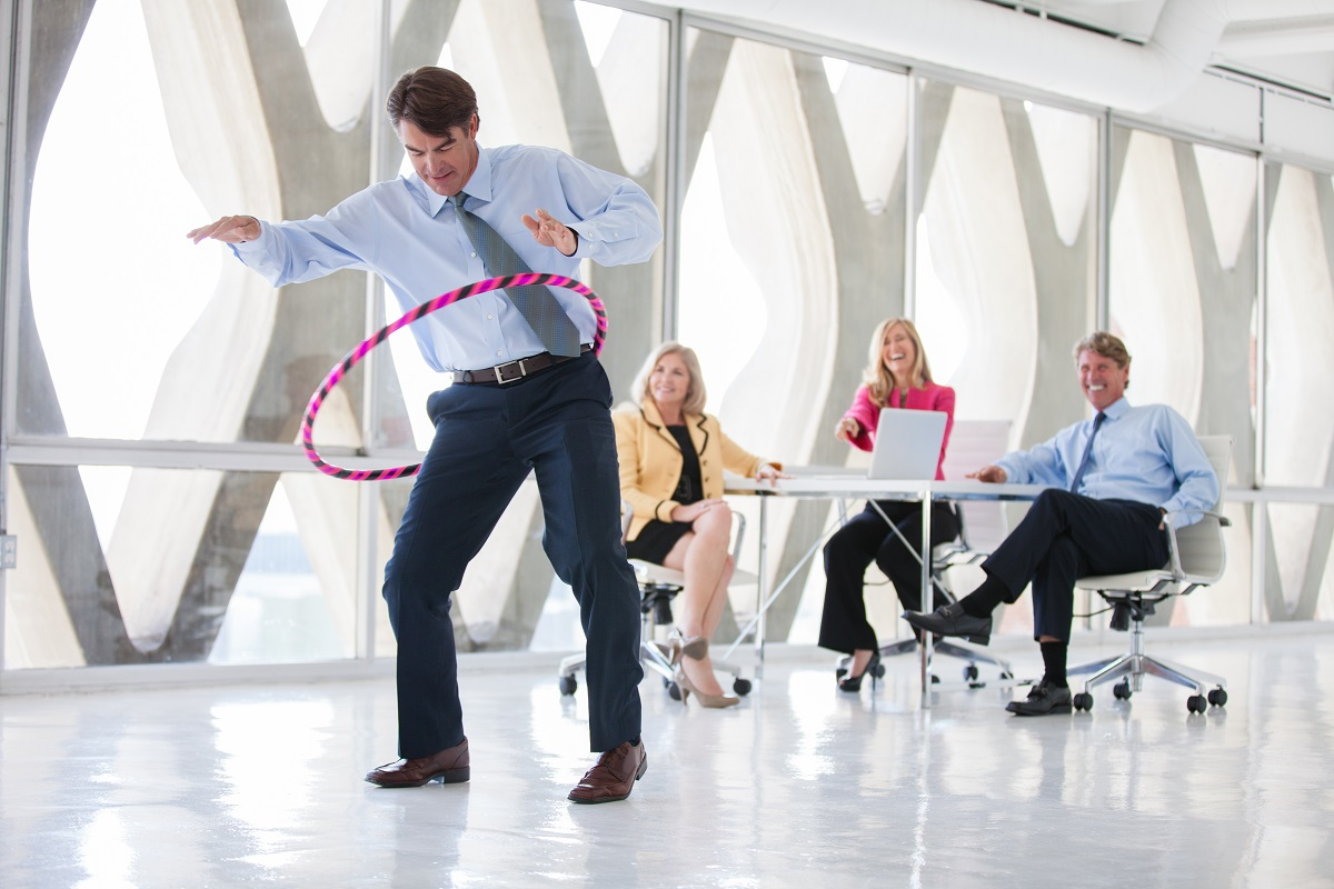 employees exercising in the office