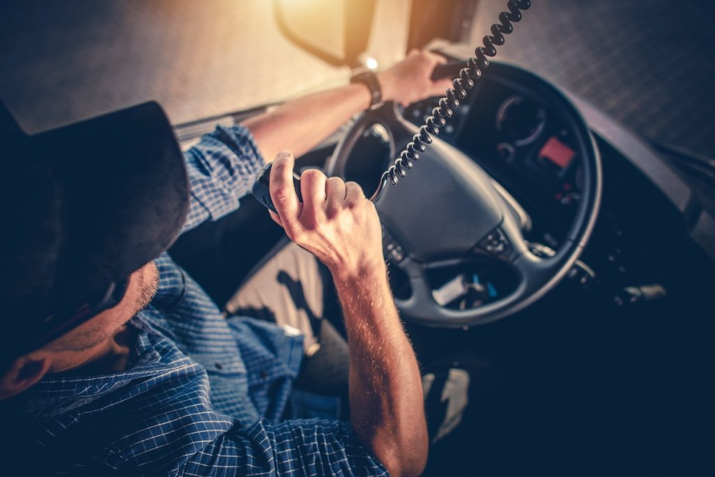 driver talking on the radio