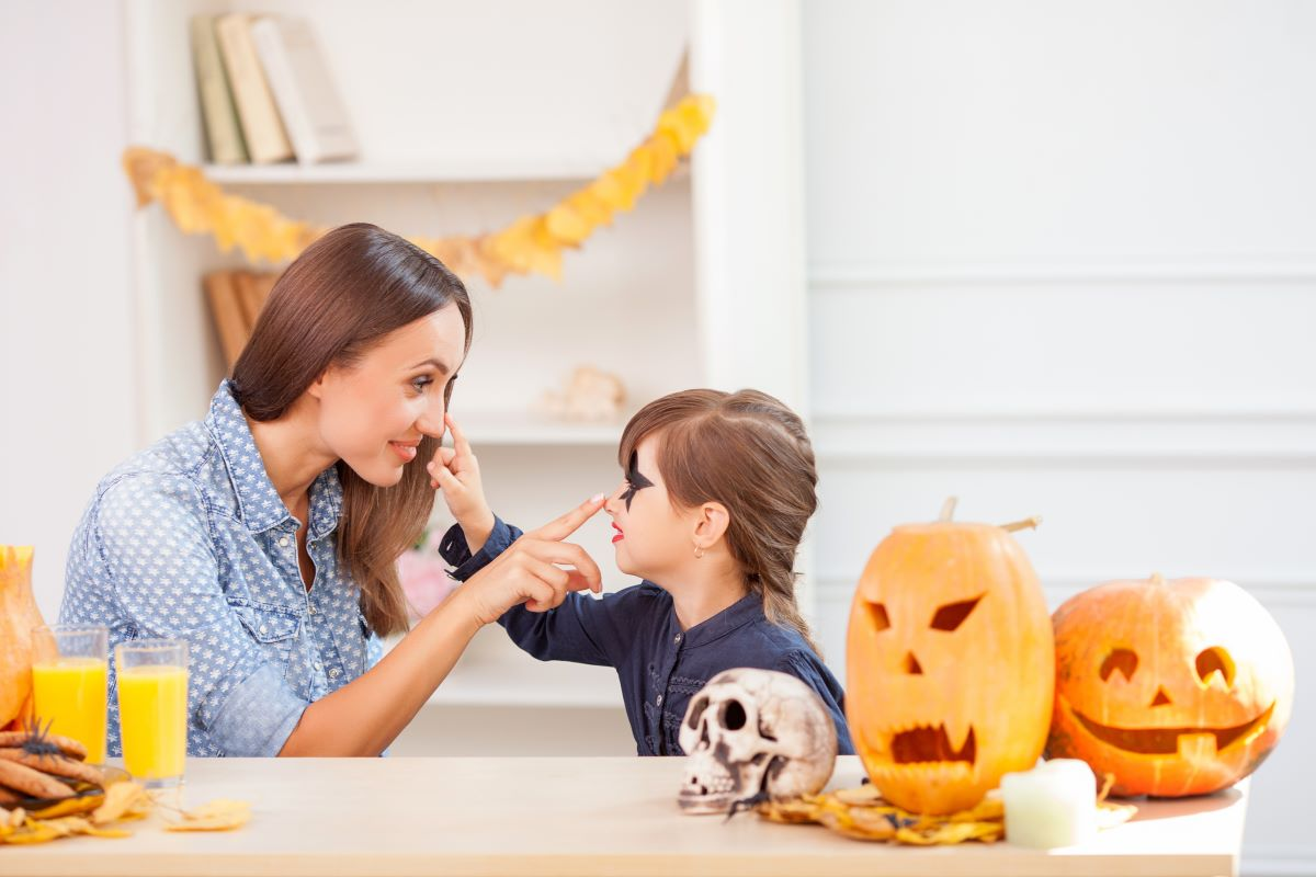 mother and daughter making face painting for halloween