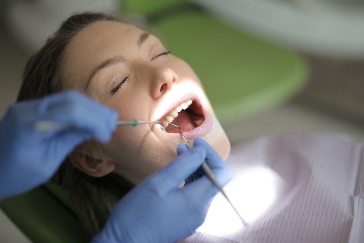 woman getting dental work done
